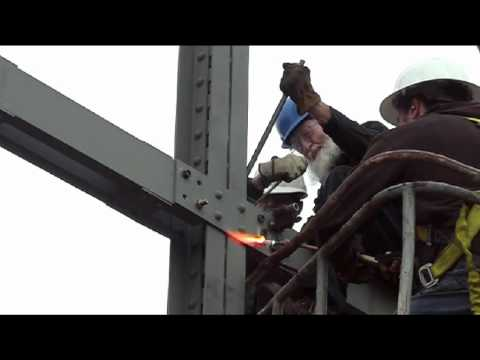 Historic Iron Truss Relocation - Riveting For Reassembly