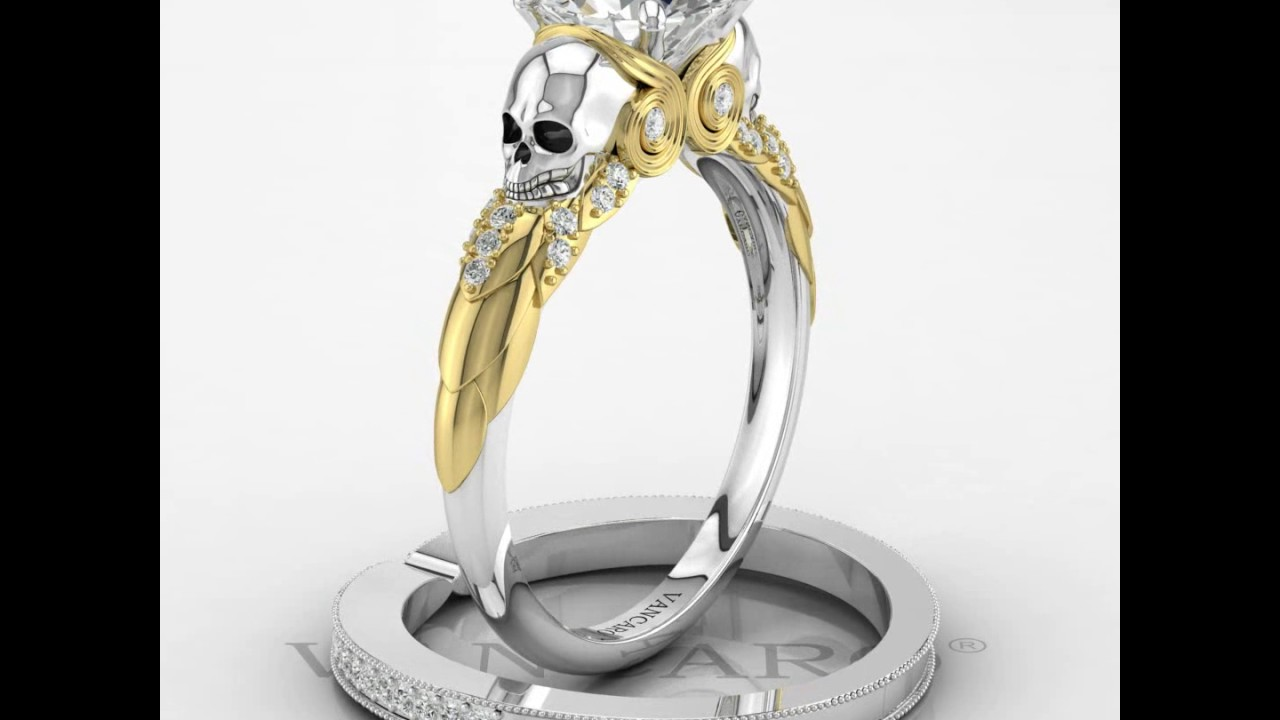 Classic Twotone Owl And Skull Engagement Ring For Female