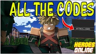 EVERY CODE IN ROBLOX HERO'S ONLINE!!