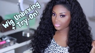 Unboxing + Try-On | Beautiful Hair Brazilian Deep Wave Full Lace Wig | Makeupd0ll