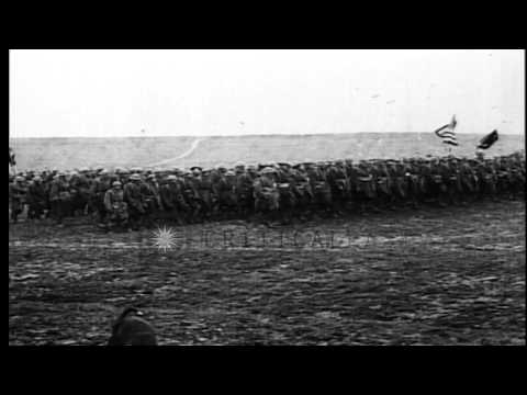President Woodrow Wilson and General John J Pershing review troops in France as t...HD Stock Footage