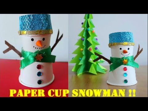 DIY Snowman From 2 Paper Cups!! Easy Tutorial ~ Christmas Decor Ideas ~ Steps ...
