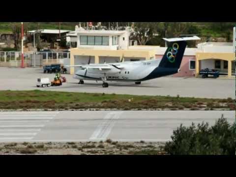 Dash 8-102 (SX-BIP) landing and takeoff, Olympic Air, Leros Island, Greece