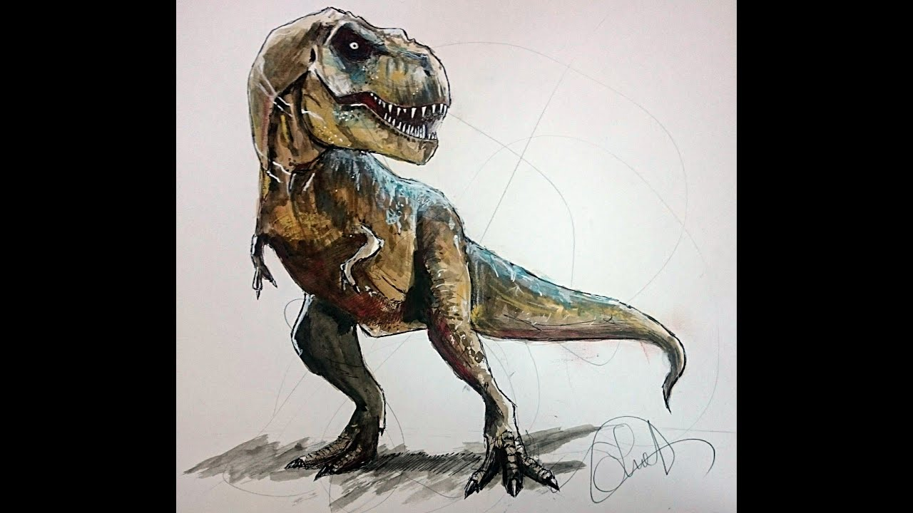 Jurassic park t rex drawing images for Painting games com