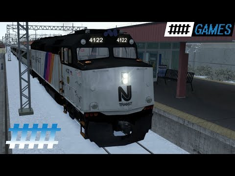 Train Simulator Cab Ride NJT F40PH-2CAT in Snow From Asbury Park NJ to Long Branch Station |