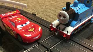 LIGHTNING McQUEEN vs THOMAS the TANK ENGINE - Trains and Slot Cars with Crashes!