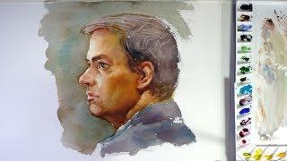 Watercolor portrait painting : a man's portrait