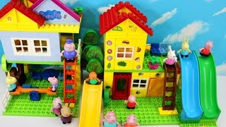 Peppa Pig Grandpa Pigs Blocks Mega House Construction Set With Red Train, Family And Friends