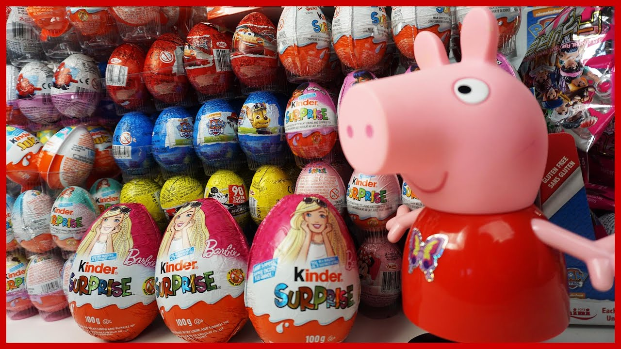 滿牆的出奇蛋奇趣蛋玩具,佩佩豬喜歡選哪一個?