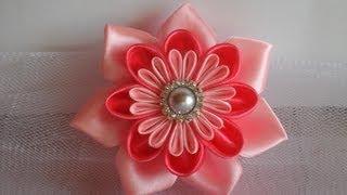 Украшение на шапочку Канзаши. Просто и красиво / kanzashi flowers tutorial