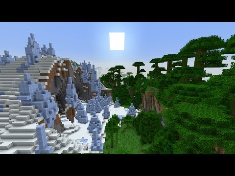 Ice Spikes, Mesa, and Mega Taiga Connected to Jungle Biome - Minecraft Seed 1.8