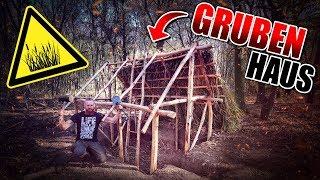 GRUBENHAUS Bushcraft Shelter #008 - Lagerbau - Outdoor Bushcraft Camp | Fritz Meinecke