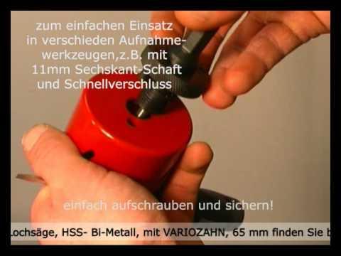 Berühmt MPS Lochsäge, HSS- Bi-Metall, mit VARIOZAHN, 68mm - YouTube YL56