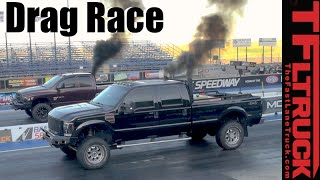 Tuned Ford F-350 4x4 Diesel: Run What You Brung 1/4 Mile Drag Race
