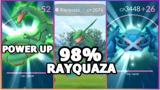 POWERING UP RAYQUAZA & METAGROSS POKEMON GO | 98% RAYQUAZA FOUND
