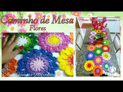 Caminho de Mesa de Crochê em Flores Barroco max Color. Tutorial de decoraçao por Vanessa Marcondes .