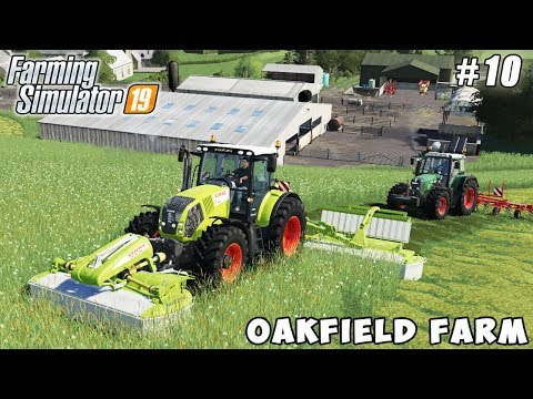 Mowing grass, baling hay | Farming on Oakfield Farm | Farming simulator 19 | Timelapse #10