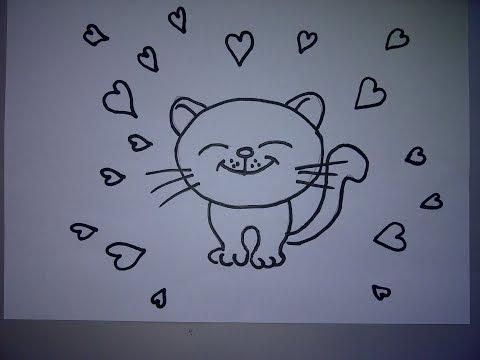 Zeichnen lernen für Anfänger. Ein Kätzchen mit Herz zum Valentinstag oder zum Muttertag zeichnen