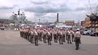 Royal Marines band practice with no instruments