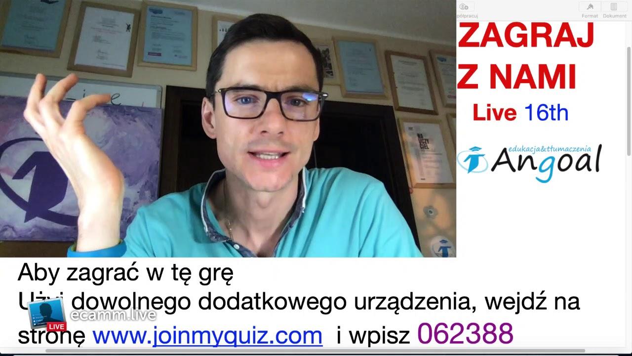 Angoal Live no 16. Zagrasz ze mną w quiz z j. angielskim? Dzisiaj o 17:30