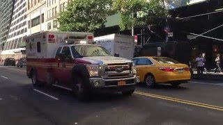FDNY EMS AMBULANCE RESPONDING ON WEST 42ND STREET MIDTOWN AREA OF MANHATTAN IN NEW YORK CITY.