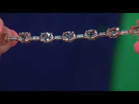 Morganite & Diamond Tennis Bracelet 14K Gold on QVC