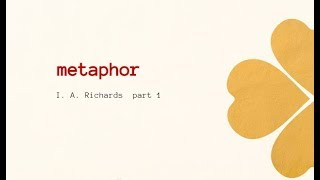 METAPHOR BY  I. A. Richards ( PART 1 )