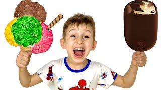 Руслан и мама готовят полезное МОРОЖЕНОЕ - история про вредные сладости | Ромарики