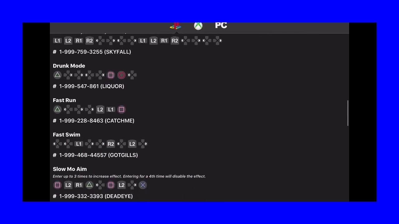 Gta V Cheat Codes