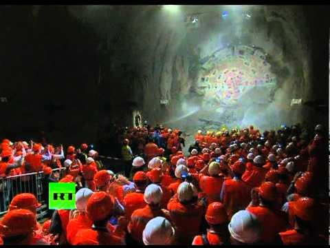 Breakthrough! Giant drill smashes open world's longest tunnel under Swiss Alps