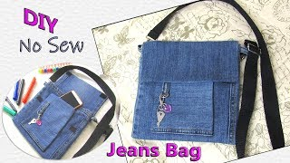 DIY Jeans Bag Recycling No Sew - How To Make Hand Bag Purse From Old Denim - Old Jeans Crafts