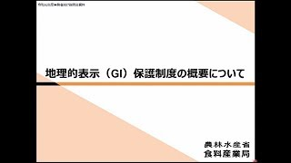 動画 令和元年度知的財産権制度説明会(実務者向け) 12. 地理的表示(GI)保護制度の概要について