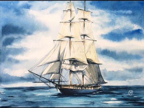 Watercolor Tall Ship in the Ocean Painting Demonstration