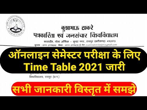 Kushabhau Thakre Patrkarita University Exam Time Table 2021 जारी | Cg College Exam News 2021