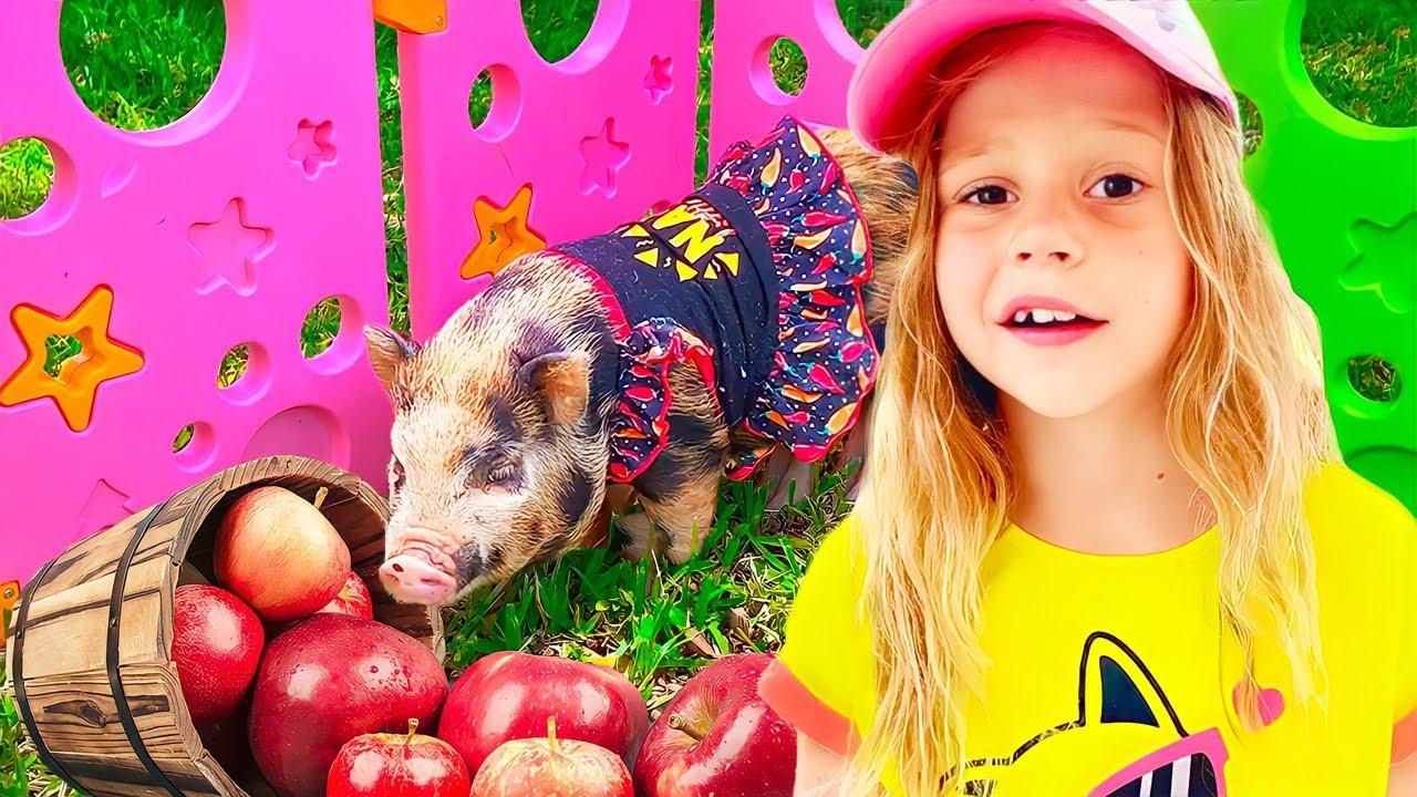 Nastya dan kisahnya dengan hewan di peternakan kakek