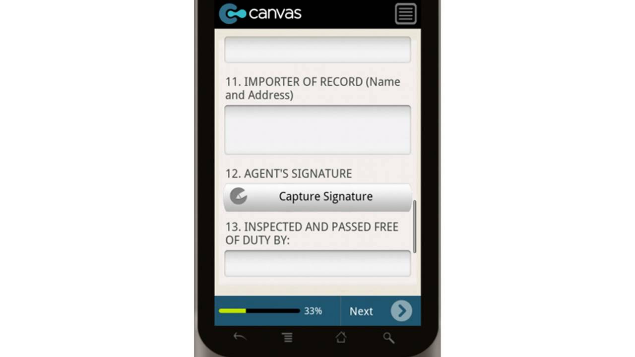 Canvas CBP Form 7523 Entry and Manifest of Merchandise Free of ...