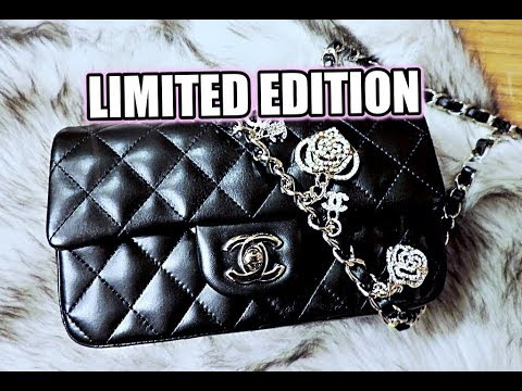 6d17c577e2d5 UNBOXING Black CHANEL Mini Valentine's LIMITED EDITION Charms Flap Bag  Black 14P