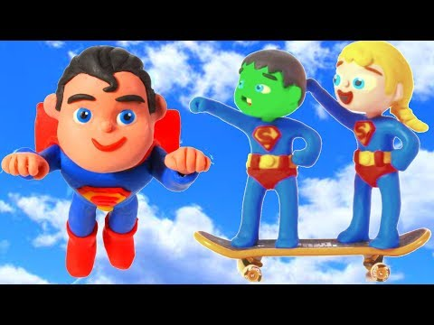 Kids Pretending To Be Superman 💕Cartoons For Kids