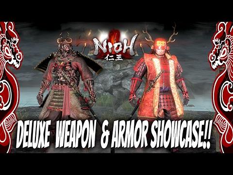 Nioh Fashion! : Deluxe Edition Weapon & Armor Showcase | Sanda Crimson Set, Nioh Armor, Ogress Mask,