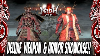 Nioh Fashion! : Deluxe Edition Weapon & Armor Showcase | Sanda Crimson Set, Nioh Armor, Ogress Mask,