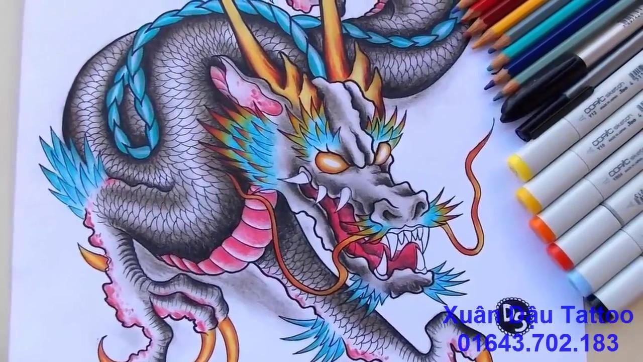 Hướng Dẫn Chi Tiết Vẽ Hình Xăm Rồng 3D Đẹp Nhất – By Xuân Dậu Tattoo