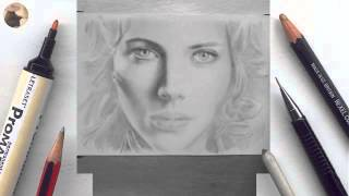 Scarlett Johansson miniature portrait timelapse video