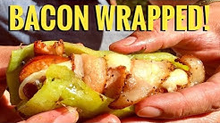 Making Cheese Stuffed, Bacon Wrapped Hot Dogs! Camp Cooking! -Delicious Keto Meal!