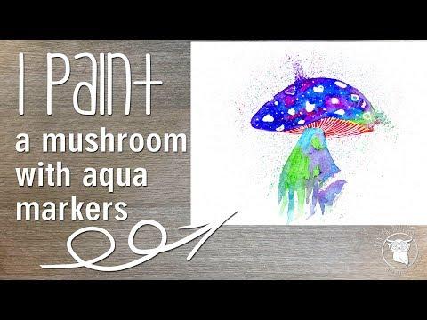 Mushroom watercolour painting spectrum noir aqua markers