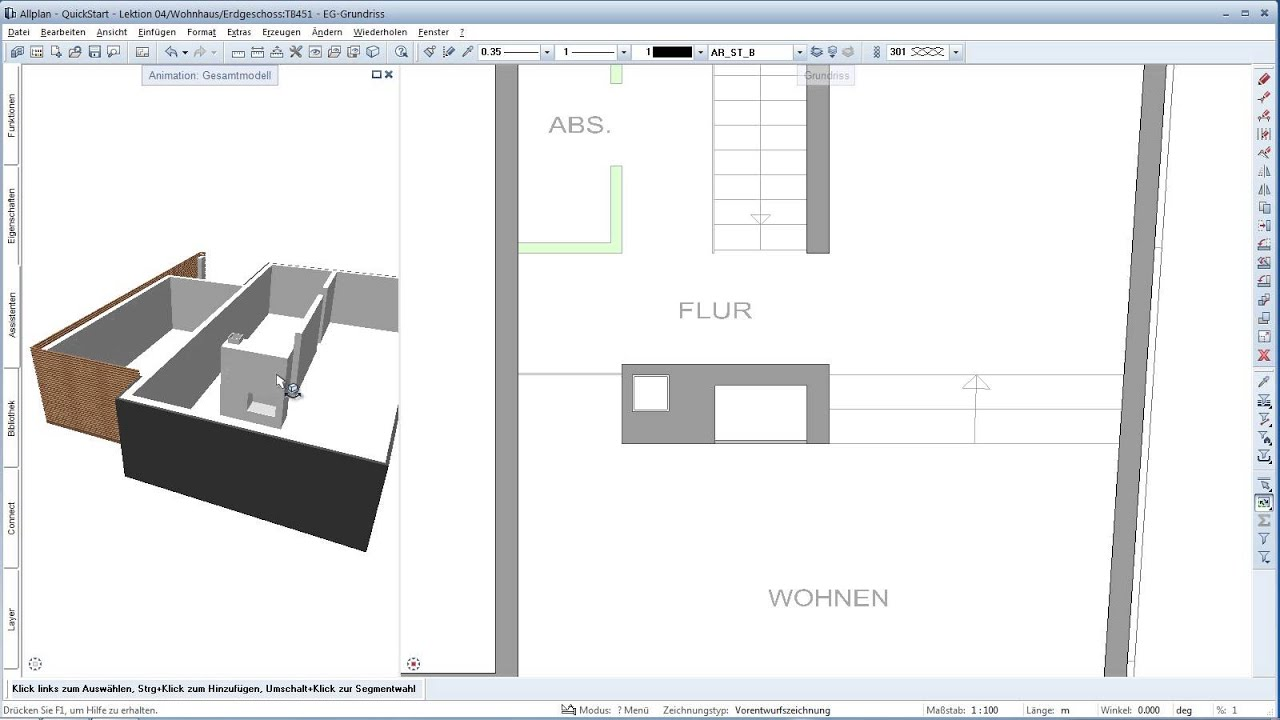 allplan quickstart de lektion 4 einfaches konstruieren mit assistenten cad tutorials. Black Bedroom Furniture Sets. Home Design Ideas