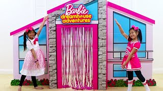 Download Emma & Jannie Pretend Play with Giant Cardboard Barbie Playhouse and Girl Toys Mp3 and Videos