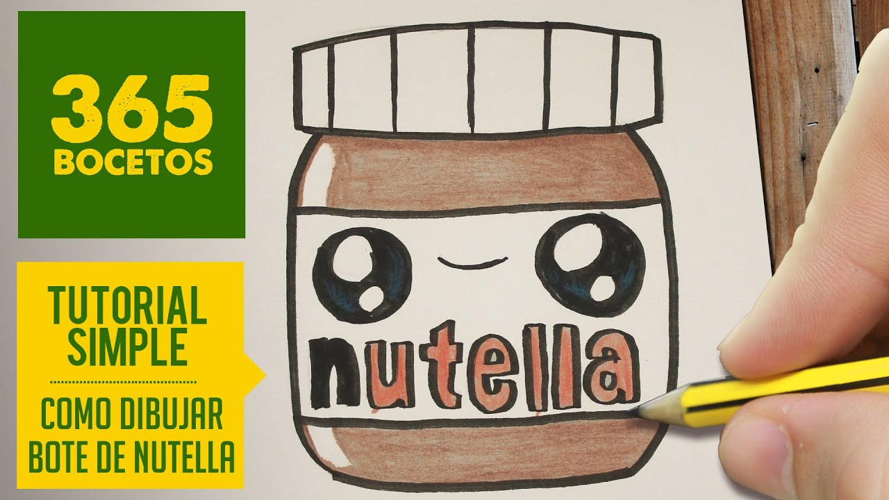 HOW TO DRAW A NUTELLA CUTE, Easy step by step drawing lessons for kids , YouTube