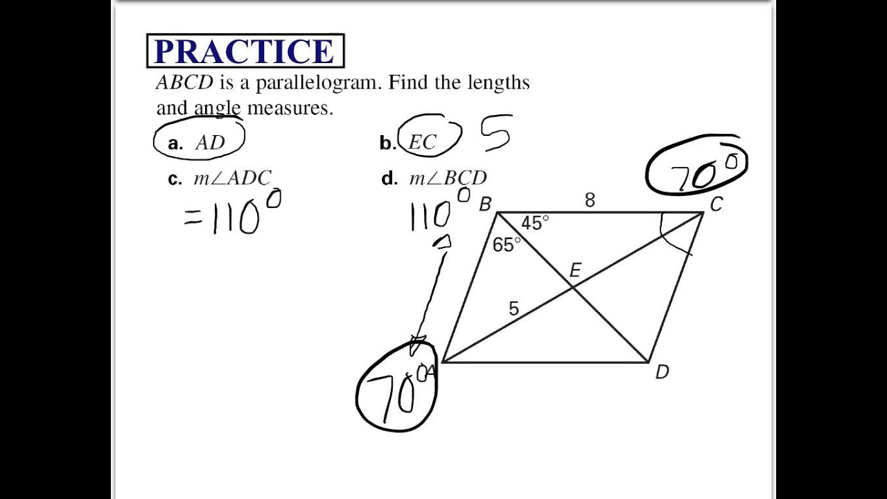 233.23 - Properties of Parallelograms Throughout Properties Of Parallelograms Worksheet