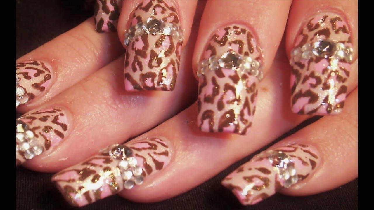 Leopard Nails With Diamonds Diy Diva Nail Art Design Tutorial