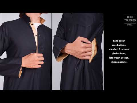 DxB Tailored : Black Kuwaiti Thoub (with Gold Lining) Preview